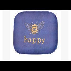 Blue 'Bee Happy' Plate